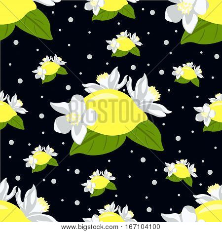 Children seamless pattern with lemon fruits and lemon flowers on black background