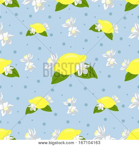 Nice seamless pattern with lemon and lemon flowers on blue background with dots