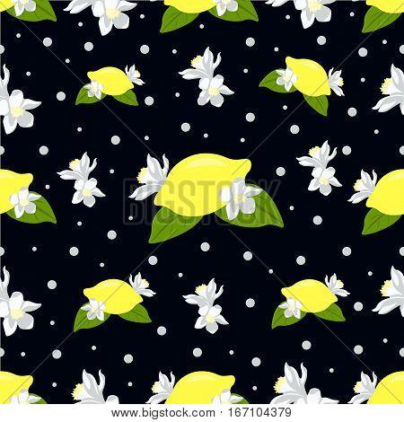Children seamless pattern with lemon fruits and lemon flowers on dark background