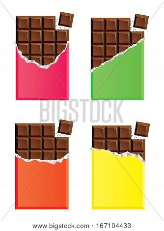 vector collection of opened dark chocolate bars with a piece of chocolate bar pink green orange and yellow paper wrapper