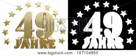 Golden digit forty nine and the word of the year decorated with stars. Translated from the German. 3D illustration