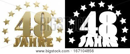Golden digit forty eight and the word of the year decorated with stars. Translated from the German. 3D illustration