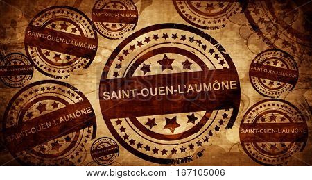 saint-ouen-l'aumone, vintage stamp on paper background