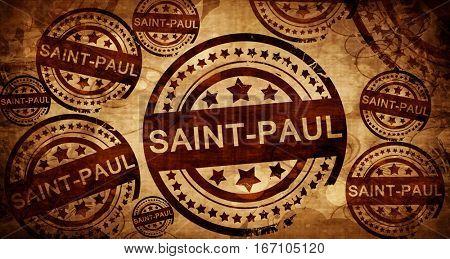 saint-paul, vintage stamp on paper background