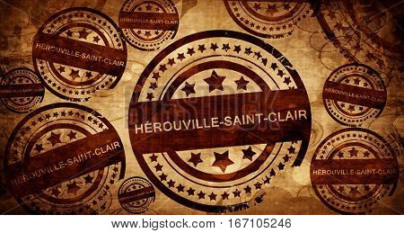 herouville-saint-clair, vintage stamp on paper background