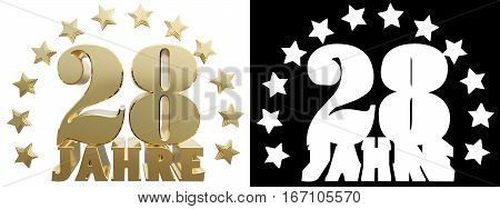 Golden digit twenty eight and the word of the year decorated with stars. Translated from the German. 3D illustration