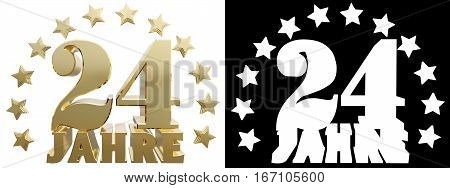Golden digit twenty four and the word of the year decorated with stars. Translated from the German. 3D illustration