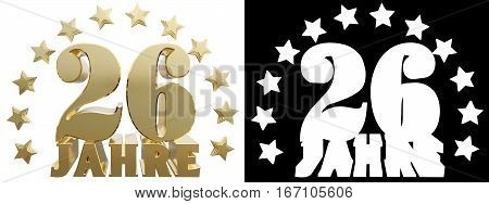 Golden digit twenty six and the word of the year decorated with stars. Translated from the German. 3D illustration