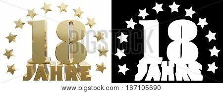Golden digit eighteen and the word of the year decorated with stars. Translated from the German. 3D illustration