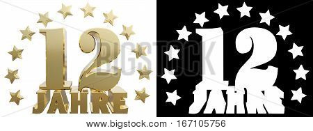 Golden digit twelve and the word of the year decorated with stars. Translated from the German. 3D illustration