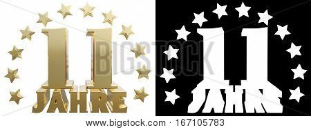 Golden digit eleven and the word of the year decorated with stars. Translated from the German. 3D illustration