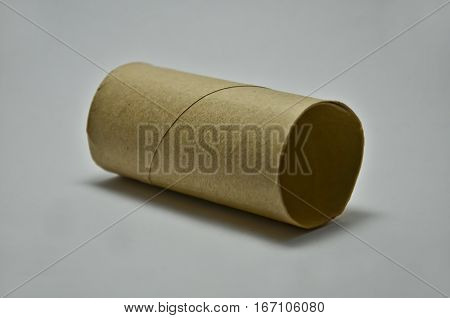 empty tissue paper roll isolated on white background