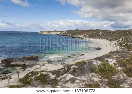 Scenic View Over One Of The Beaches Of Rottnest Island, Australia.