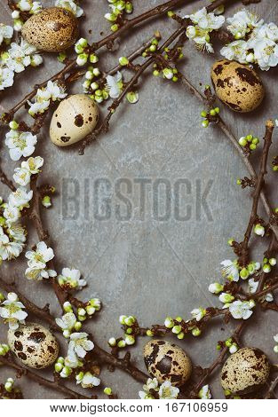 Easter floral background view from above space for a greeting text