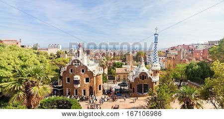 Panoramic view of the Park Guell by architect Antoni Gaudi in Barcelona Spain.