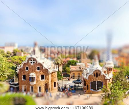 Panoramic view of the Park Guell by architect Antoni Gaudi. Miniature tilt shift lens effect. Barcelona Spain.