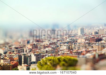 Panoramic view of the city Barcelona Spain. Miniature tilt shift lens effect.