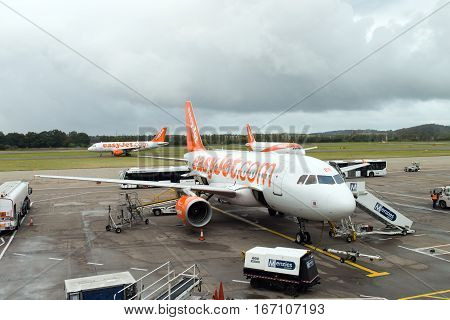 Edinburgh Scotland - 13 Oct 2016: EasyJet airplane is ready for passengers to board at Edinburgh airport. EasyJet is a British low cost airline which based at Luton London.