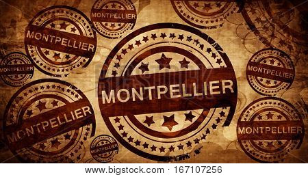 montpellier, vintage stamp on paper background