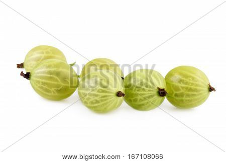 Gooseberry close up. Green gooseberries isolated on white background