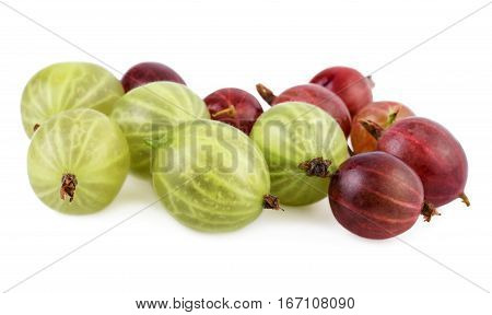 Gooseberry closeup green red gooseberries isolated on white
