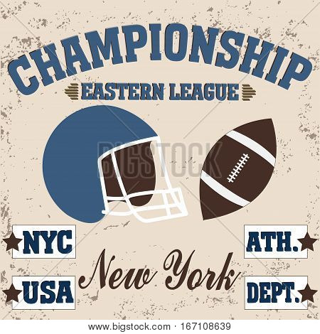 football brooklyn new york t-shirt vintage - vetor