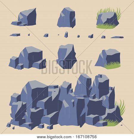 Rock stone vector icon boulders, gray set