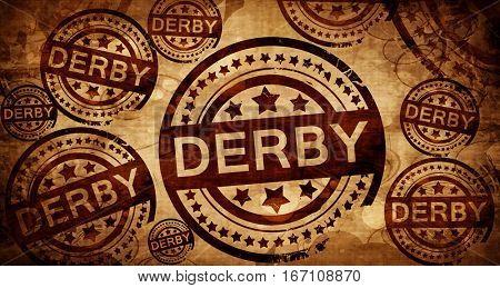 Derby, vintage stamp on paper background