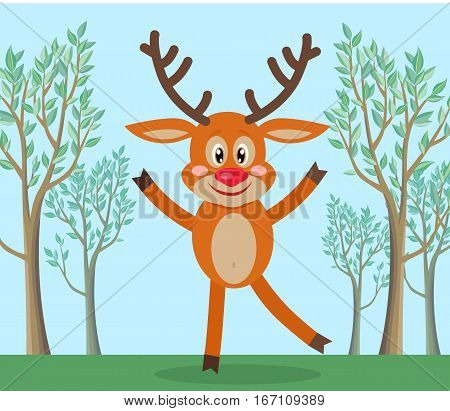 Wild animal in nature funny cartoon. Cute horned reindeer dancing on forest lawn flat vector illustration. Flora and fauna. For travel, nature, habitat, environmental protection concept design