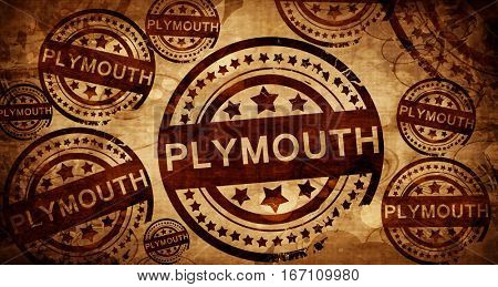 Plymouth, vintage stamp on paper background