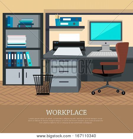 Workplace conceptual vector web banner. Flat style. Office room with armchair, computer monitor on the desk, rack with documents. Comfortable place for work modern business apartments design