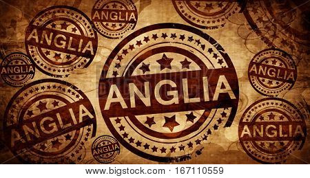 Anglia, vintage stamp on paper background