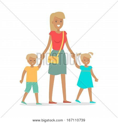 Woman and two children isolated on white. Family entertainment banner. Female with adorable son and daughter. Happy childhood concept in flat style design. Vector illustration. People society