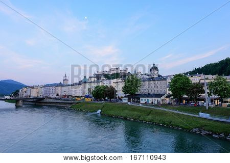 Sunset view from Salzach River in Salzburg, Austria.  Famous place Unesco Heritage Festung Hohensalzburg, Salzburger Land, Austria, Europe on 18.05.2016