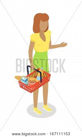Woman with cart purchases in flat design. Shop cart customer male buy, buggy with purchase, consumer with goods, food product in cart, buyer woman, shopper. Cartoon character. Vector illustration