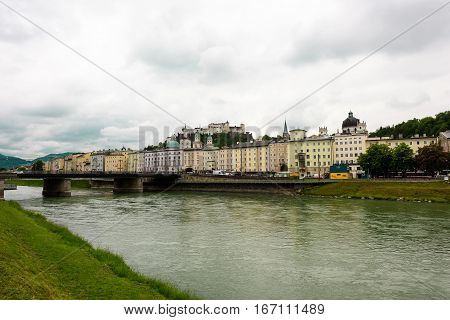Salzach River in Salzburg, Austria. Famous place Unesco Heritage Festung Hohensalzburg, Salzburger Land, Austria, Europe on May 19th 2016