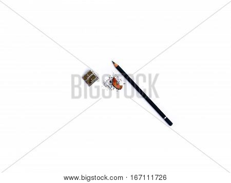 pencil with shavings and pencil sharpener isolated on white background