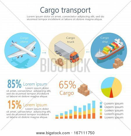 Cargo transport isometric elements. Cargo plane, truck, ship icons, percent numbers, data and sample text, color diagrams vector illustration isolated on white background. For infographics, web design