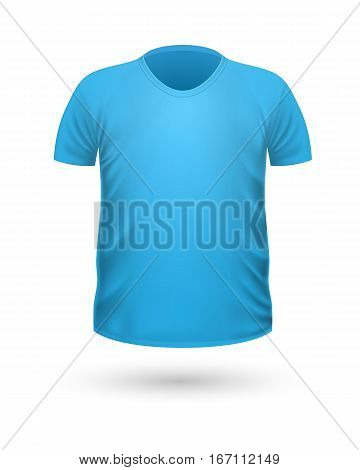 T-shirt template, front view. Blue color. Realistic vector illustration in flat style. Sport clothing. Casual men wear. Cotton unisex polo outfit. Fashionable apparel.
