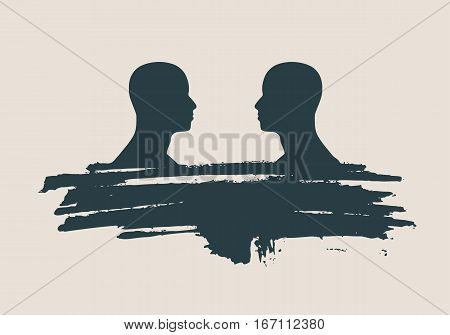 Two man silhouettes looking at each other. Grunge brush stroke. Abstract business meeting. Vector illustration. Side view.
