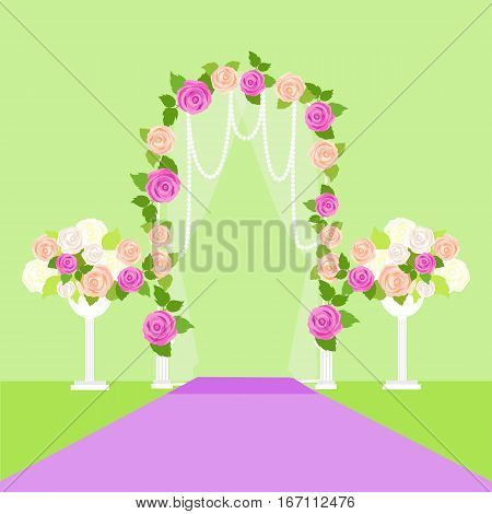 Wedding arc door with flowers. Romantic gentle element for your wedding design. Wedding decor fashion interior. Interior decoration with roses. Save the date archway. Memorable great day. Vector