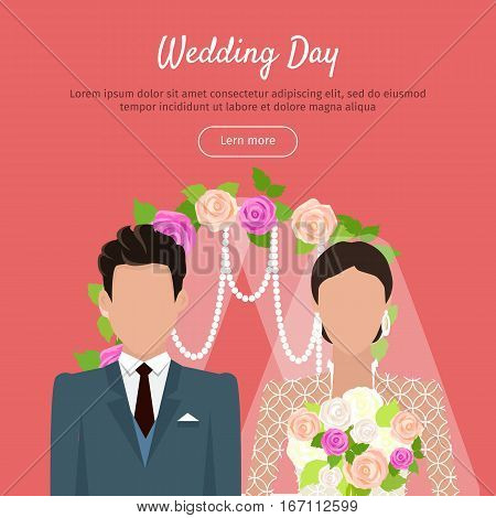 Wedding day web banner. Newlyweds couple design template. Beautiful young newly-married groom and bride isolated on red. Love people and wedding. Ceremony where two people united in marriage. Vector