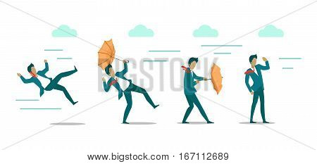 Wind strength levels. Windless breeze strong wind hurricane. Set of banners with wind levels. Man in different states during wind blowing. Natural disaster. Changeable weather. Vector illustration