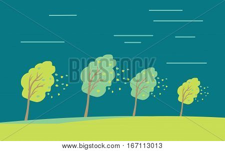 Strong wind and heavy rainstorm in the forest. Heavy shower, downpour, cloudburst fall down leaves from trees. Autumn concept. Wind blowing in the park. Vector illustration in flat style