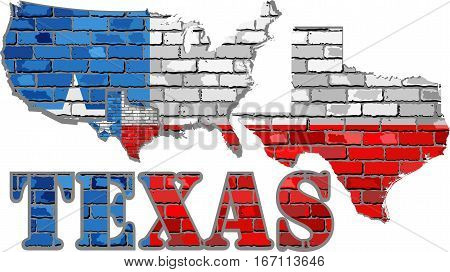 Texas on a brick wall - Illustration, Font with the Texas flag,  Texas map on a brick wall