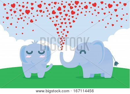 Elephant spraying many heart out of nose for flirt female. Illustration about affection.