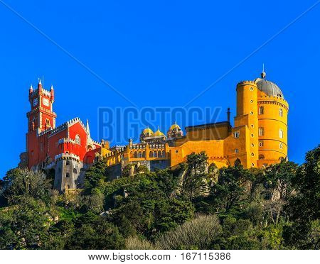 Pena National Palace famous landmark Sintra Lisbon Portugal Europe.