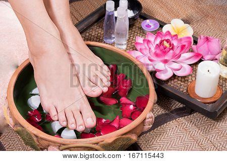 woman foot spa, concept of spa massage