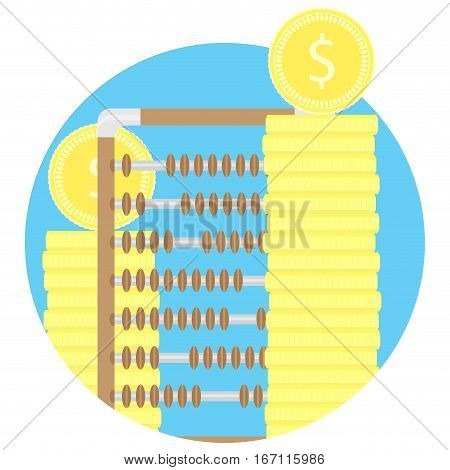 Counting gold and capital fund icon. Abacus and stock of coins. Vector illustration