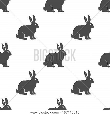 Hare or Rabbit silhouette seamless pattern. Vector Illustration